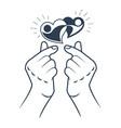 icon korea finger heart vector image vector image