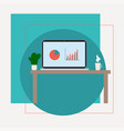 laptop on table flat design vector image vector image