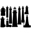 lighthouse silhouettes vector image vector image