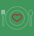love food style icon heart vector image vector image