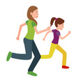 mother and daughter run jogging together vector image vector image
