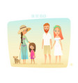 people on the beach family surfer friends vector image vector image