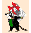 Raccoon and washing machine vector image vector image