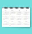 Realistic calendar Calendar template in English vector image