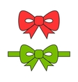 Red and green bows ribbons Flat object vector image vector image