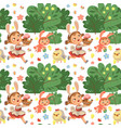 seamless pattern girl smile running hunting vector image