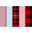 set of 5 lumberjack plaid pattern vector image vector image