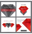 set of red and black 3d crystals diamonds vector image vector image