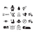 set of zika virus icon in silhouette style vector image