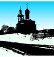 Silhouette of the old church vector image vector image
