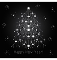 Silver fir tree made of connected lines and dots vector image vector image