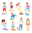 skateboarders young boy or girl characters vector image vector image