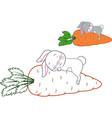 sleeping rabbit coloring page vector image vector image