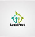 social logo with human hug and leaf concept vector image vector image