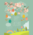 spring blooming tree with easter eggs vector image vector image