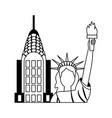 statue of liberty city skyscraper vector image vector image