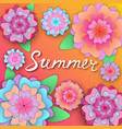 summer hand lettering on the banner with paper vector image