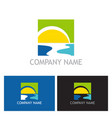 sun beach river logo vector image vector image