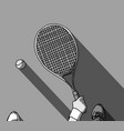 tennis grayscale feet and hand with racket top vector image vector image