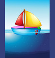 toy boat floating on water vector image vector image