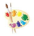 two paintbrushes and palette of paints vector image vector image