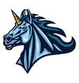 unicorn head logo design sport mascot vector image