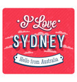 vintage greeting card from sydney vector image vector image