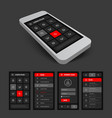 set of black and red mobile ui vector image