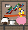 Business infographic with icons charts coffee and vector image