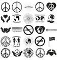 peace set black icon on white vector image