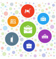 7 case icons vector image vector image
