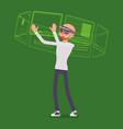 augmented reality man and virtual interface vector image vector image