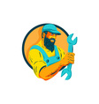 Bearded Mechanic Holding Spanner Circle WPA vector image vector image