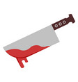 bloody knife on white background vector image vector image