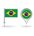 Brazilian pin icon and map pointer flag vector image vector image