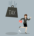 Business woman run away from heavy tax vector image vector image