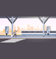 businessman running to catch train business man vector image