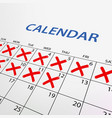 calendar with red marks vector image