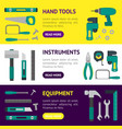 cartoon hand tools banner horizontal set vector image vector image