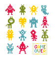 collection of pixel monsters vector image vector image