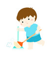cute boy sweeping dust on a white background vector image vector image