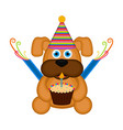 cute dog with a party hat and a cake vector image vector image