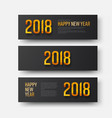 design horizontal black banners happy new year vector image vector image