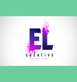el e l purple letter logo design with liquid vector image vector image