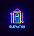 elevator neon label vector image