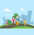 family walking in the park vector image vector image