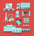 Flat icons of distribution and logistics vector image