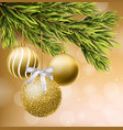 golden glitter christmas balls realistic vector image vector image