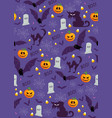 Halloween pumpkin seamless pattern on purple