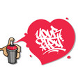 hand holding an aerosol spraying a valentines day vector image vector image